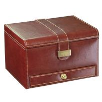 Dulwich Designs 70881 Chestnut Brown 3pc Watch and Cufflink Box With Tan Lining